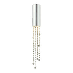 Bromi Design - Bromi Design Jael 1 Light Wall Sconce in Chrome w/Clear Crystals - Decorate your living room with the graceful chrome wall sconce. Its steel cylinder with crystal drops and chrome finish will add elegance and style to your home decor. The 35-watt GU halogen bulb gives out serene lighting to create a homely ambiance.