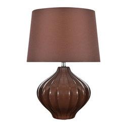 Lite Source - Lite Source LS-22314COFFEE Gordana 1 Light Table Lamps in Coffee Ceramic - Table Lamp, Coffee Ceramic Body/Coffee Fabric, E27 Cfl 13W