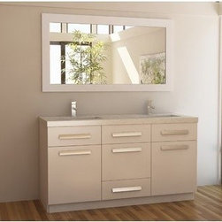 "Design Elements LLC - Moscony 60"" Double Sink Vanity Set in White - The Moscony 60"" Double Sink Vanity Cabinet is constructed of solid wood and provides a contemporary design perfect for any bathroom remodel. The storage in this free-standing vanity set includes one fully functional drawer and three single door cabinets with three strictly decorate drawer panels lining the top of the cabinet each accented with brushed nickel hardware. The cabinet is available in both espresso and in white and comes as a complete set with a white quartz counter top and matching framed mirror."