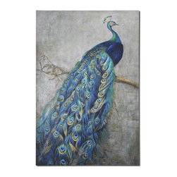 Uttermost - Uttermost 32234  Proud Papa Hand Painted Art - The proud peacock displays vibrant shades of turquoise blue mixed with greens and yellows in this hand painted artwork on burlap applied to hardback board. due to the handcrafted nature of this artwork, each piece may have subtle differences.