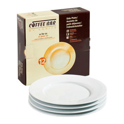 Konitz - Café Plates, Set of 4 - Familiar from any café you've ever bought a croissant sandwich, these traditional white porcelain plates have a classic, universal appeal. Perfect for serving lunch, alongside your matching white porcelain coffee mug.