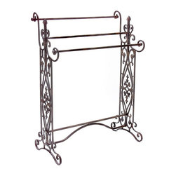 IMAX Worldwide Home - Quilt/Towel Rack - Traditional.  wrought iron quilt or towel rack in a dark finish with open-metalwork design features 3 horizontal bars. Towel & Quilt Racks. 35.5 in. H x 28 in. W x 14 in. D. Wrough Iron 80%, Cast Iron 20%