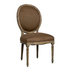 Zentique - Medallion Side Chair, Aubergine, Limed Grey - A rounded back side chair is the perfect accent piece in a formal living room or dining room. Pick from eight upholstery and paint finish combinations for your ideal look. Beautiful carved-wood detailing gives each piece a vintage feeling that is made for mixing and matching with the rest of your furniture.