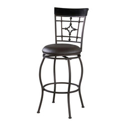 Linon - Linon Arial Upholstered Vinyl Bar Stool in Brown - Linon - Bar Stools - 03277MTL01KDU - The modern unique style of the Adjustable Arial Stool will add eyecatching style to your kitchen dining or home pub area.  Crafted of sturdy metal and highlighted with subtle curves and a distinctive back this stool is a positively striking addition to your home.  The cushion is piled high for extra comfort and covered in a dark brown vinyl.  This stool is elegant and versatile making it the perfect choice for any gathering area.