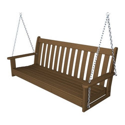 "POLYWOOD� - Vineyard Porch Swing - Features: -Vineyard swing.-Furniture grade Polywood material.-Made to withstand a range of climates including hot sun, cold winters, and salty coastal air.-Stainless steel hardware.-Slats made from recycled plastic and 100% recyclable.-Made in the USA.-Includes chain kit.-Distressed: No.-Fade Resistant: Yes.Dimensions: -Overall: 35.25'' H x 60.5'' W x 60.5'' D.-Porch Swing Depth - Front to Back: 24"".-Overall Product Weight: 55 lbs.Assembly: -Assembly required.Warranty: -Product Warranty: 20 Year limited residential."
