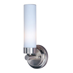 ET2 Lighting - Cilandro II 1-Light Bath Vanity Fixture - Brighten your vanity with this simply beautiful piece. Sleek and cylindrical, outfitted in polished nickel and matte glass, it bathes your bathroom in a wash of warm light.