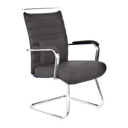 At the Office - 4 Series Guest Chair - This handsome chair not only gives its visitor a comforting experience, but a supportive one at that. In addition to the enveloping padded areas, it includes a lumbar pillow for cushioned assistance.