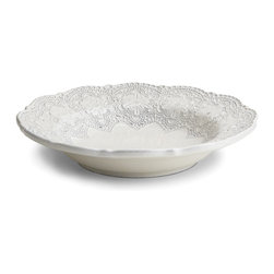 Arte Italica - Merletto Antique Pasta/Soup Bowl - Get in the white frame of mind with this beautifully detailed bowl. Place it atop colored linens to make it pop or pair it with all white for a modern impression. Handmade in Italy, each bowl is unique and slight differences in color or size are to be expected and celebrated.