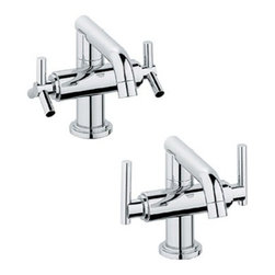"GROHE - Grohe Atrio Low Spout Lavatory Centerset - Starlight Chrome - Contemporary meets classic in the stunning Grohe Atrio low spout Centerset lavatory faucet. Add a set of lever or spoke handles for that custom look you've been searching for. Choose Grohe, for the bathroom of your dreams. Featuring Grohe exclusive StarLight plating and SilkMove technology. Starting with their unique StarLight plating process, Grohe sub-plates layers of copper or nickel, depending on the surface, to ensure a flawless non-porous base for their dazzling chrome layer. StarLight ensures a luminous mirror-like sheen that is resistant to scratches and tarnishing for years of stunning, trouble-free use. Grohe's innovative SilkMove cartridges are fashioned from advanced ceramic alloys, then are coated with an exclusive Teflon lubricant, ensuring a lifetime of rich smooth faucet function and quiet, leak-free operation. Available in multiple finishes.Also available as WaterSense labelled, low-flow product.Features & Specs4 5/8"" spout reachSolid BrassGROHE SilkMove ceramic cartridgesStainless Steel Braided Supply HosesIncludes pop-up drainSold Less HandlesShown with both Trio spoke handles (18026) and Lever handles (18027) ADA CompliantFlow Rate 2.2 gpm at 60 psi, 2.5 gpm at 80 psiView Spec Sheet"