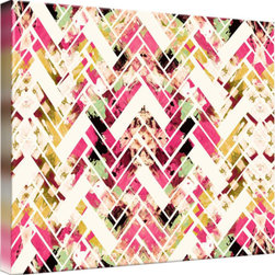 Imagekind - Wild Herringbone Pink, Canvas Print - Nancy draws inspiration from nature, fashion, and interior design.  Hand-painted shapes and textures pulse among the buzz of digital geometries. Pop art and mod motifs incorporated with symmetry, repetition and vibrant colors create bold patterns that make for great modern wall décor in any space.