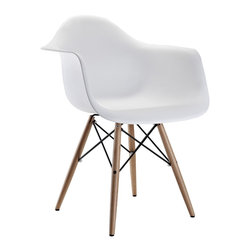 Poly+Bark - Eames Style Molded Plastic Dowel-Leg Armchair (DAW) Set of 2, White - Set of 2 Chairs