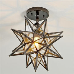 Moravian Star Ceiling Light, Blackened Bronze - I love a classic Moravian star pendant. Use this one to dress up a hallway or bathroom.