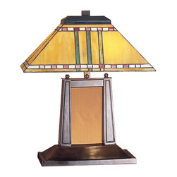 Meyda Tiffany - Meyda Tiffany Lamps Desk Lamp in Mahogany Bronze - Shown in picture: Prairie Corn Oblong Desk Lamp; With Their Love Of Geometric Forms - Architects Of The Prairie School Interpret Organic Objects Into Simplified Lines. The Meyda Tiffany Prairie Corn Oblong Table Lamp Shade Has Rows Of Chili Red And Wheat Kernels And Stalks Of Bronzed Jade Against A Maize Gold Background. The Stained Glass Shade Is Paired With A Simple Mission Style Lamp Base In A Mahogany Bronze Finish.