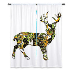 "DiaNoche Designs - Window Curtains Unlined by Susie Kunzelman - Deer II - DiaNoche Designs works with artists from around the world to print their stunning works to many unique home decor items.  Purchasing window curtains just got easier and better! Create a designer look to any of your living spaces with our decorative and unique ""Unlined Window Curtains."" Perfect for the living room, dining room or bedroom, these artistic curtains are an easy and inexpensive way to add color and style when decorating your home.  The art is printed to a polyester fabric that softly filters outside light and creates a privacy barrier.  Watch the art brighten in the sunlight!  Each package includes two easy-to-hang, 3 inch diameter pole-pocket curtain panels.  The width listed is the total measurement of the two panels.  Curtain rod sold separately. Easy care, machine wash cold, tumble dry low, iron low if needed.  Printed in the USA."