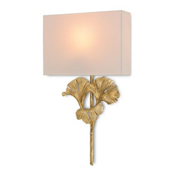 Currey & Co - Gingko Wall Sconce - Perhaps underrated in the realm of botanical-inspired motifs, the star of the Gingko Wall Sconce creates a captivating silhouette. With a brilliant Chinois Antique Gold Leaf finish, the leaves of this piece's wrought iron frame fan out beautifully beneath an Off White Shantung shade. Meets ADA Requirements.
