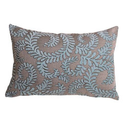 Pillow Decor - Pillow Decor - Brackendale Ferns Sea Blue Rectangular Throw Pillow - Made from a beautiful and hard wearing upholstery fabric, this throw pillow features a stylized swirling leaf pattern. Suitable for contemporary or traditional decor schemes, you will love the fabric quality. The background of the pillow is a simple tight weave in black and light gray. The leaves are in soft misty sea blue chenille that contrasts beautifully against the texture of the background fabric.