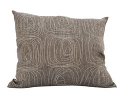 "Area Inc. - Rose Java Medium Decorative Pillow  17X19.5"" - Area Inc. - Add a simple, unique print to your couch or bed with the 17-by-19.5 inch Rose Java Decorative Pillow. This pure linen pillow features an abstract embroidered rose pattern in white against a textured brown background. Pair it with similar neutral colors for a cohesive feel. Includes a feather down insert."