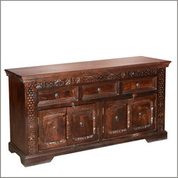 Empire Indian Rosewood Hand Carved 4 Door Sideboard Buffet Cabinet - Add a regal touch to your interior design with the Hand Carved Empire Buffet. The solid hardwood sideboard has intricate details on the front sides, top, and doors.