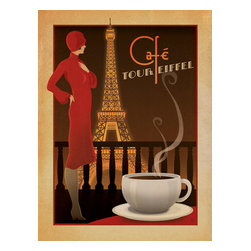 Anderson Design Group - Coffee Collection: Cafe Tour Eiffel Gallery Print - This deep, rich, classic Art Deco design celebrates the taste and the view of coffee in Paris. Created with an aged, vintage printshop look, this print will add some European charm to any wall. Original, hand-illustrated design from Anderson Design Group in Nashville, TN.