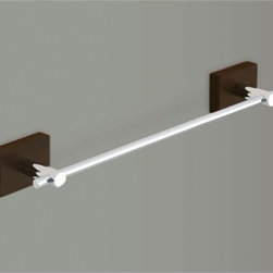 Gedy - Chrome 12 Inch Towel Bar With Wood Base - Classic 12 inch brass towel bar or holder with polished chrome finish and wooden base. 12 inch wall mounted towel bar. Made of stainless steel with wood base. From Gedy Minnesota Wood Collection.