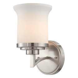 Nuvo Lighting - Nuvo Lighting 60/4101 Harmony Single Light Bathroom Fixture - Nuvo Lighting 60/4101 Harmony Single Light Bathroom Fixture with Satin White Glass, in Brushed Nickel FinishThe Harmony family delivers a fresh, forward design concept that is comfortable in a wide variety of decors. Offered in Dark Chocolate Bronze with Saffron glass shades or Brushed Nickel with Satin White glass shades, Harmony is always in perfect balance.Nuvo Lighting 60/4101 Features: