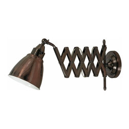 Kenroy - Kenroy-32197CBZ-Floren - One Light Wall Swing Arm Lamp - Big style, industrial chic, and available in Antique Nickel or a Copper Bronze finish, these swing arms are an American classic. Floren's accordion extension and adjustable head make it perfect for bedside or work bench lighting.
