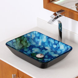 Elite - ELITE 1406 Rectangle Cloud Art Tempered Glass Bathroom Vessel Sink - Composed of high grade tempered glass,this vessel sink features unique hand-painted art that resembles clouds in a deep blue sky. Featuring an oversized glass bowl,this rectangle sink brings modern style to your home.