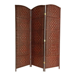 Oriental Unlimted - 71 in. High Diamond Weave Fiber Room Divider - Choose No. of Panels: 3 Panels (58.5 in. Total Width)19.5 in. Wide panels with attractive diamond weave medallions. Well built, lightweight wood frames with spun plant fiber cord. Distinctive rattan style folding screen. The spun plant fiber cord is able to hold dye beautifully, making rich, warm, beautifully colored decorative screens. Design allows some light and air to pass though the panels and does not shut light out completely. 3 panel shown. Not suitable for outside use. 19.5 in. W x 0.75 in. D x 71 in. H (per panel)Our new Diamond weave room partition is a practical accessory and beautiful decorative accent. The arch top panels are wider than most, almost 20 inches. Tough, durable spun plant fiber cord is interwoven with quarter inch thick wooden dowels. The distinctive diamond shape medallions are repeated 5 per panel, creating a stylish rattan look decorative screen as well as a slightly larger floor screen room divider.