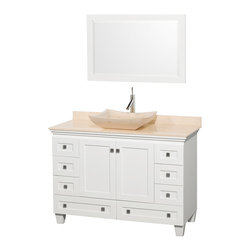 """Wyndham Collection - 48"""" Acclaim White Single Vanity w/ Ivory Marble Top & Avalon Ivory Marble Sink - Sublimely linking traditional and modern design aesthetics, and part of the exclusive Wyndham Collection Designer Series by Christopher Grubb, the Acclaim Vanity is at home in almost every bathroom decor. This solid oak vanity blends the simple lines of traditional design with modern elements like beautiful overmount sinks and brushed chrome hardware, resulting in a timeless piece of bathroom furniture. The Acclaim comes with a White Carrera or Ivory marble counter, a choice of sinks, and matching mirrors. Featuring soft close door hinges and drawer glides, you'll never hear a noisy door again! Meticulously finished with brushed chrome hardware, the attention to detail on this beautiful vanity is second to none and is sure to be envy of your friends and neighbors"""