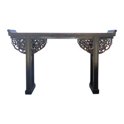 Golden Lotus - Chinese Black Lacquer Dragon Motif Apron Altar Console Table - This is a console altar table in black lacquer and wood color rim. The apron is decorated with oriental Chinese ancient dragon pattern on both sides.
