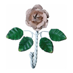 Renovators Supply - Hooks Wrought Iron Hook Multi Colored Pink Rose - These Single Hooks are most popular in entryways for coats, on bathroom doors for towels and robes. Clean up and get organized with a single hook or get several to hang side-by-side. They look fantastic in either a contemporary bathroom & kitchen or a Victorian hallway. Hand-forged wrought iron.