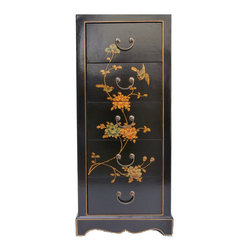 Golden Lotus - Black Chinese Leather Gold Flower Bird Painting Five Drawers Cabinet - Look at this Chinese five drawers cabinet which is made of compressed wood.  Especially, the outside of cabinet is wrapped by artificial leather, and it also comes with flower & birds painting around the cabinet.  It can be also used as nightstand end table.