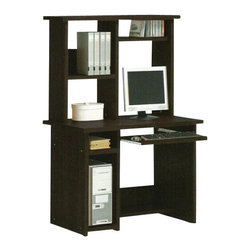 "Acme - Espresso Finish Wood Computer Desk and Hutch with Slide Out Keyboard Tray - Espresso finish wood computer desk and hutch with slide out keyboard tray. Measures 39"" x 24"" x 60""H. Some assembly required."