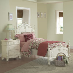 None - Fairytale Victorian Princess Full-size Bed and Nightstand - This kids' furniture set features Victorian styling with floral motif hardware, ecru painted finish and traditional carving details that create the feeling of a princess. This Fairytale Collection bedroom set includes a full-size bed and nightstand.