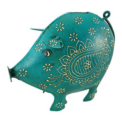 Cool Teal Pig Metal Money Bank Distressed Finish - This beautiful teal green pig money bank gives a great antique touch to almost any room. Made of welded metal, the pig has a wonderful distressed teal enamel finish, that gives it an aged look, and had hand-painted off white enamel accents. The bank measures 8 inches tall, 9 1/2 inches long and 4 inches wide. It has a plastic stopper on the bottom, so you can easily retrieve your coins. This bank makes a great gift for pig lovers.