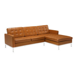 """LexMod - Florence Style Loft Right-Arm Leather Sectional Sofa in Tan - Loft Right-Arm Leather Sectional Sofa in Tan - The mid-20th century was a time when hopes were at their highest. Technological developments were bustling forward, and the new world was just barely visible in the distance. But this time also presented a dilemma of sorts. The test of this forthcoming era was to be whether industry would foster comfort or stifle it. What makes the Loft series so complete? At first glance, it displays a pleasant linear design with an external tubular stainless steel frame. The back and seat are tufted and buttoned to enhance the overall richness of the piece. But can these aspects be said to define the totality of a classic? The answer then must be something profound. A thought that serves as representative of that era, while matching the sentiments of our present age. Our suggestion is that the Loft series conveys the potential of progress. From amidst the steel base, a comfortable seating experience is attained. From out of the exponential surge of technological growth, comes peace and solace. Perhaps this is why Loft is the sofa series of choice for so many Fortune 500 companies. Aside from its iconic feel, the set is symbolic of a time when technological innovation could do no wrong. When faster was seen only as something positive. The Loft series is the preferred choice for reception areas, living rooms, hotels, resorts, restaurants and other lounge spaces. Set Includes: One - Loft Leather Right-Arm Sectional Chaise One - Loft Leather Corner Sectional Loveseat Mid-Century Modern Corner Sectional Sofa, Genuine Leather Seating Surface, Tubular Stainless Steel Frame, Foot caps to prevent scratching, Chaise is detachable from loveseat, Tufted seat and back with buttons Overall Product Dimensions: 63.5""""L x 91.5""""W x 30.5""""H Loveseat Dimensions: 31.5""""L x 60""""W x 30.5""""H Chaise Dimensions: 63.5""""L x 31.5""""W x 30.5""""H Seat Height: 16""""H Leg Height: 6""""H - Mid Century Modern Furn"""
