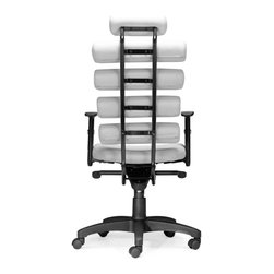 Zuo Modern - Zuo Modern Unico Modern Office Chair X-150502 - This high back office chair provides ultimate lumbar support. The Unico has firm leatherette cushion rolls for the back and a plush seat. The frame is comprised of a steel tube and the arms are height adjustable. The tilt mechanism is locking and height adjustable.