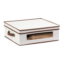 Honey Can Do - Natural Canvas Large Window Storage Box - Clear view windows. Quickly identify items inside. Sturdy construction. Holds up to 25 lbs.. Includes dinnerware inserts. Protects 12 standard-sized cups. 16.25 in. L x 14 in. W x 5.75 in. H (2.625 lbs.)Honey-Can-Do SFT-02066 Dinnerware Storage Box, Natural/Brown. Store up to 12 standard-sized cups in this 16.5x14.25 inch storage box. The clear view window lets you easily see the contents while the lift off lid simplifies access. Protective inserts help safeguard against chips or scratches. Remove the dinnerware inserts and this storage box turns into a great closet organization tool. Store boots, sweaters, linens, or seasonal clothing. In classic off-white with brown accents, this stackable storage box will instantly upgrade any pantry or closet. Made of polyester and cotton canvas.
