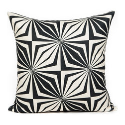 LaCozi - Cream and Black Diamond Star Throw Pillow - Yes, you are seeing things! An awesome pop art print is just the thing to add new zing to your favorite setting. And this statement-making pillow is quality crafted with double-stitched seams and reinforced stress points to really go the distance in your decor.