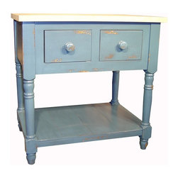 British Traditions - 3 Ft. Wide Rectangular Kitchen Island w Unfinished Maple Top (Antique Blue) - Finish: Antique Blue. Each finish is hand painted and actual finish color may differ from those show for this product. Rectangular kitchen island. 2 Drawers. Open shelf. Country-style legs. Unfinished maple top. Minimal assembly required. Overhang: 6 in.. 36 in. W x 24 in. D x 36 in. H (94 lbs.)The Derbyshire kitchen island is similar to our Melrose kitchen island, but is only 3' long.