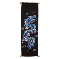 Oriental-Decor - Wind Dragon Oriental Scroll - Chinese dragons are a mythical creature said to control the wind and water. This exotic painting features a blue-themed dragon flying high in the night time sky, set against an all-black background. Use this magnificent hand-painted Oriental scroll to add beauty and serenity to any room in your home.