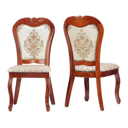 Cortesi Home - Ella Dining Chair (Set of 2) - The Ella dining chair adds a touch of class with its elegant and refined Queen Anne style. Gracefully carved cabriole legs and a balloon shaped back are standout features. Another design element is the beautiful cream & gold brocade fabric juxtaposed between a flower & a geometric print. This chair is made out of solid wood in a chestnut finish and carved to perfection.