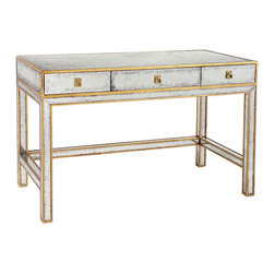 John Richard - John Richard Gold Eglomise Writing Table EUR-02-0059 - Three drawer gold leaf and eglomise writing table.