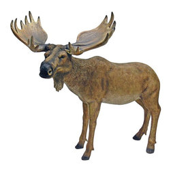 EttansPalace - Moose Garden Sculpture - Add a touch of lodge decor to home or garden with this piece of nature's artwork right from the great white north! Our -exclusive Moose sculpture is a stunning, animal statue that celebrates the strength of this beautiful animal, from its massive head to enormous horns. A great gift for the outdoorsman, our artist cast this piece in quality designer resin before hand-painting it with stunning realism. Another quality exotic garden animal statue from Toscano!