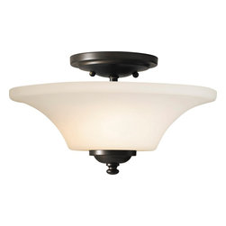 Murray Feiss - Murray Feiss Barrington Transitional Semi Flush Mount Ceiling Light X-BRO042FS - It's the simple and clean lines that make this Barrington transitional semi-flush mount ceiling light by Murray Feiss so appealing. Its features, such as the shapely, opal etched glass shade and steel frame in an oil rubbed finish, perfectly complement each other. It's a piece that goes well in a room with casual or elegant interiors.
