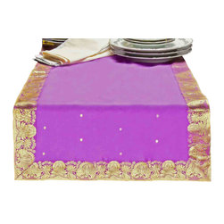 "Indian Selections - Hand Crafted Lavender Table Runner, 14""x70"" - Fabric: Poly Art Silk Sari fabric"