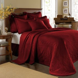 Historic Charleston Collection - King Charles Matelasse Bedspread in Scarlet - Steeped in Historic Charleston's rich, classic style and decorative arts culture, the King Charles 100% cotton matelasse bedding collection offers the ultimate blend of European, Caribbean, and Asian influences.