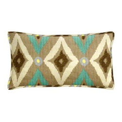 """Cushion Source - Modern Ikat Pool Lumbar Pillow - The 20"""" x 12"""" Modern Ikat Pool Lumbar Pillow features a diamond ikat pattern in beige, brown, and aqua with lilac and yellow accents."""
