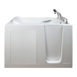 Creative Bathrooms - E-Series Air Massage 51 in. x 26 in. Walk In Tub in White with Right Drain - The E-Series 51 in. x 26 in. (E2651) Air Massage  Walk In Tub is the most affordable walk in tub featuring an easy-to-clean high gloss triple gel coat tub shell for excellent color uniformity. Stainless steel frame with adjustable feet and has a 6.5 in. threshold for easy entry. ADA Compliant with components of 17 in. seat height, textured floor and a built-in grab bar. The E2651A air massage tub comes standard with eighteen (18) therapeutic air massage jets. Includes a five (5) piece roman faucet in chrome with hand held shower unit. The Ella E2651 has soaking, air massage or dual massage options and right or left drain location. Size: 26 in. width x 51 in. length x 41 in. height. Limited Three (3) Year warranty on tub components. For more product information, please call 1.800.480.6850.
