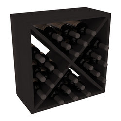 "Wine Racks America - 24 Bottle Wine Storage Cube in Premium Redwood, Black Stain - A wine rack focused on flexibility; buy 1 or buy 100. Perfect for stacking, filling small spaces, and converting that ""underneath"" space into wine storage. Mix and match finishes to illustrate your true wine-lover's spirit or contrast colors for a modern wine rack twist."